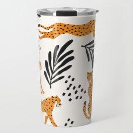 Cheetahs pattern on white Travel Mug