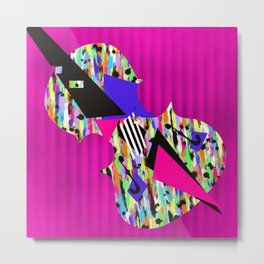 Cello Abstraction on Hot Pink Metal Print