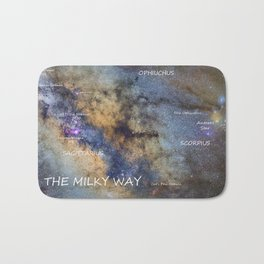 Star map version: The Milky Way and constellations Scorpius, Sagittarius and the star Antares. Bath Mat