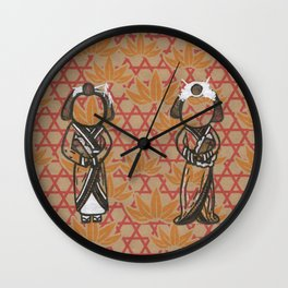 The Seventh and Eighth Beautiful Geishas Wall Clock