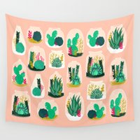 garden Wall Tapestries featuring Terrariums - Cute little planters for succulents in repeat pattern by Andrea Lauren by Andrea Lauren Design