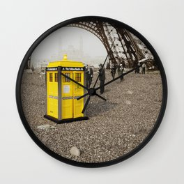 The Yellow Booth at Eiffel Tour! Wall Clock