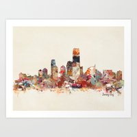 new jersey Art Prints featuring jersey city new jersey by bri.buckley