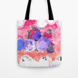 Flower Power in Pink, Purple, Peach and White Tote Bag