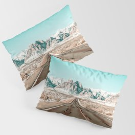 Vintage Desert Road // Winter Storm Red Rock Canyon Las Vegas Nature Scenery View Pillow Sham