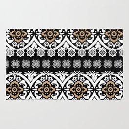Modern black white faux gold glitter motif pattern Rug