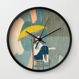 Lonely Girl In Rain Day Wall Clock