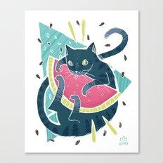 Watermelon Cat! Canvas Print