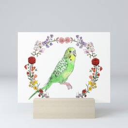 Parakeet in Green Mini Art Print