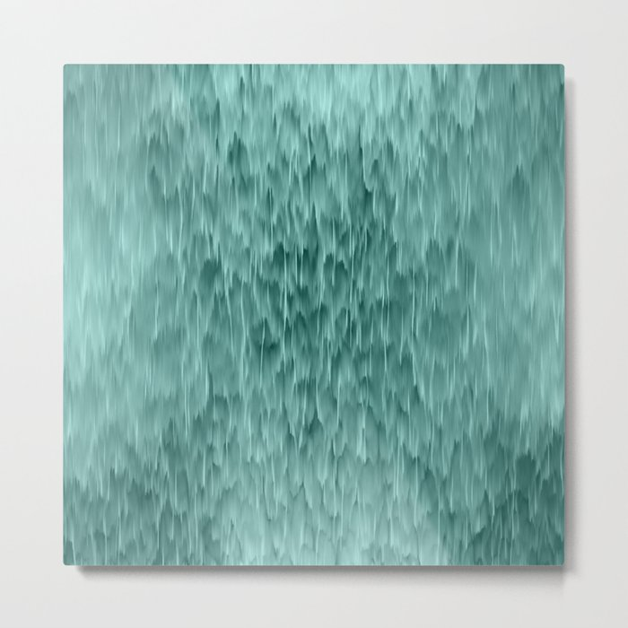 mint abstract rain Metal Print