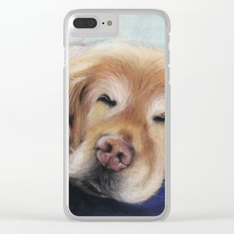 Sweet Sleeping Golden Retriever Puppy by annmariescreations Clear iPhone Case