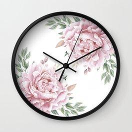 Pink Roses Duet Wall Clock