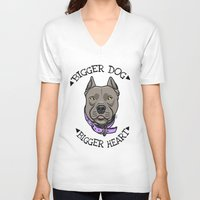 pitbull V-neck T-shirts featuring Pitbull by pixxelr