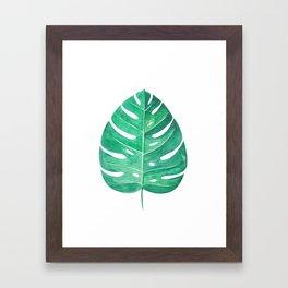 Monstera Leaf #2 | Watercolor Painting Framed Art Print