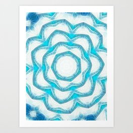 Cyan Glow Kaleidoscope 18 Art Print