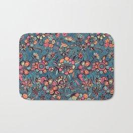 Sweet Spring Floral - melon pink, butterscotch & teal Bath Mat