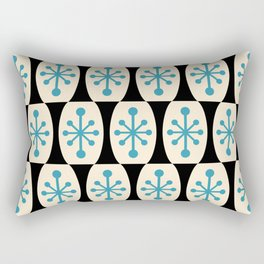 Mid Century Modern Atomic Fusion Pattern 311 Blue and Black Rectangular Pillow