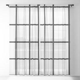 Big Grid Line Windowpane Pattern Modern Home Decor Art Design Sheer Curtain