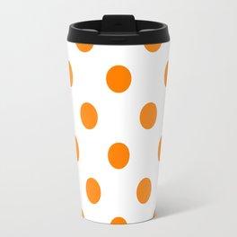 Polka Dots - Orange on White Travel Mug