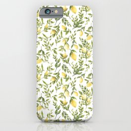 Bright Yellow Watercolor Lemons and Leaves iPhone Case