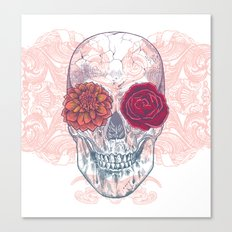 Double Flowers Skull Canvas Print