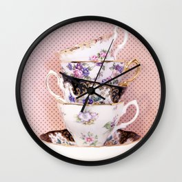 Pink Teacup Stack Wall Clock
