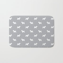 West Highland Terrier dog pattern minimal dog lover gifts grey and white Bath Mat