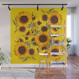 DECORATIVE WESTERN YELLOW SUNFLOWERS FIELDS Wall Mural