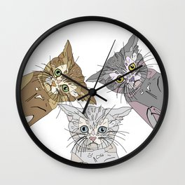 Triple Kitties - Three's Company Wall Clock