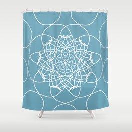 Mandala String Theory of Aqua Shower Curtain