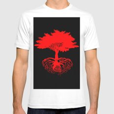 Heart Tree - Red White Mens Fitted Tee MEDIUM