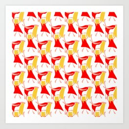 Dancing woman in a red dress and with blond yellow hair Art Print