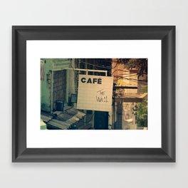 Cafe The Wall Framed Art Print