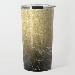 Modern girly luxurious faux gold glitter black marble pattern Travel Mug
