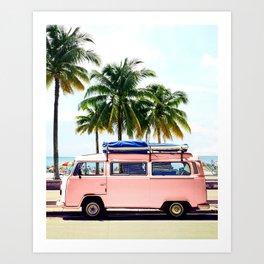 Pink Combi Van, Retro Camper Art Print By Synplus Art Print