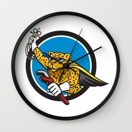 Refrigeration Mechanic Leopard Superhero Circle Cartoon Wall Clock