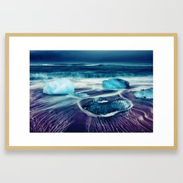 Watercolor painting of Jokulsarlon shore, Iceland Framed Art Print