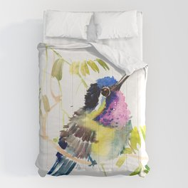 Little bird children illustration hummingbird Comforters