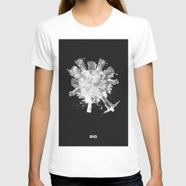 Rio de Janeiro, Brazil Black and White Skyround / Skyline Watercolor Painting (Inverted Version) T-shirt