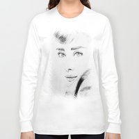 hepburn Long Sleeve T-shirts featuring Audrey Hepburn by Farinaz K.