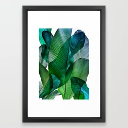 Palm leaf jungle Bali banana palm frond greens Framed Art Print