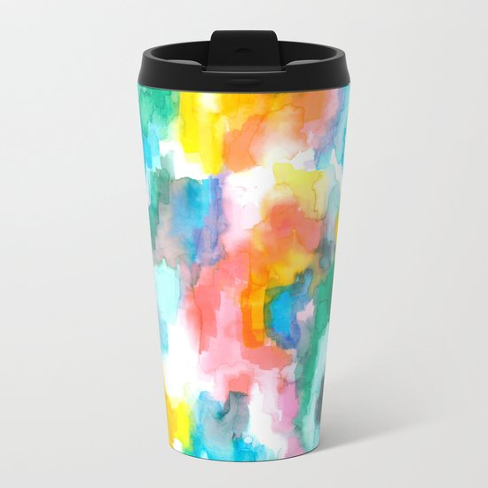 Paradise Watercolor Ikat Metal Travel Mug