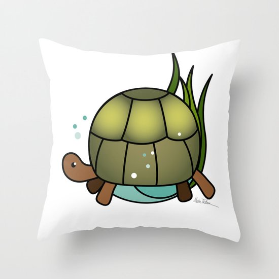 Turtle in a Circle Throw Pillow