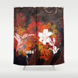 Hummingbird and flower graffiti Shower Curtain