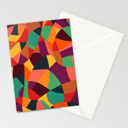 Colorful Vintage Mosaic Geometric Abstract Stationery Cards