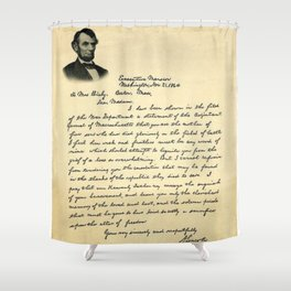 President Lincoln Letter To Mrs. Bixby Shower Curtain