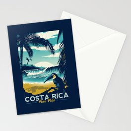 Costa Rica Retro Vintage Travel Poster Toucan Wave Surf Palm Trees Stationery Cards