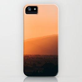 Sepia Orange Sunset Mountain Hills Landscape Photo iPhone Case