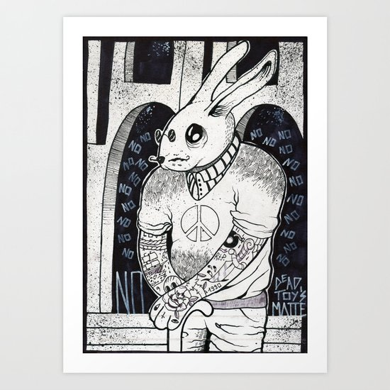Hipster Bunny Says NO to everything  Art Print