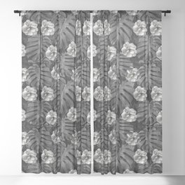 Flowers and leaves black and white Sheer Curtain